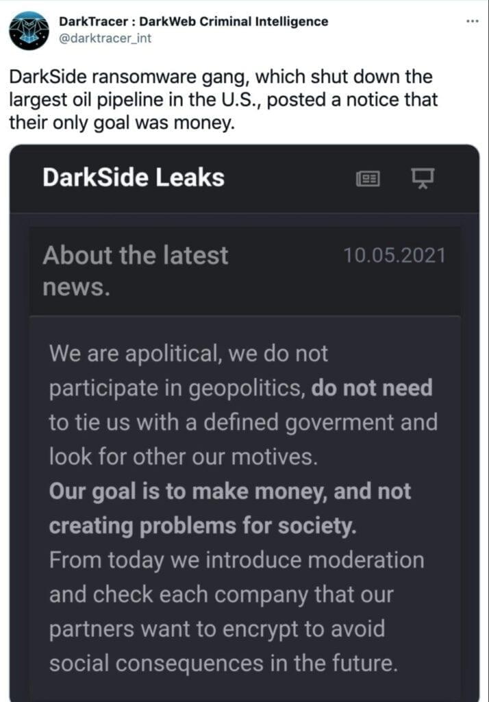 Screenshot of a Darkside ransomware