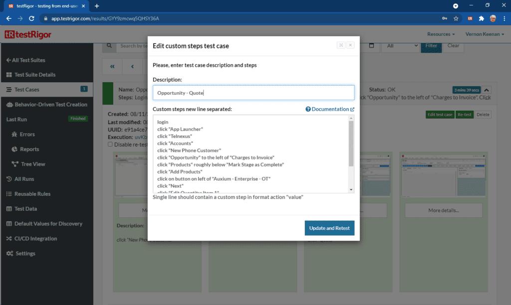 testRigor Application User Interface